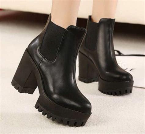 shoes grunge boots black chunky platform shoes