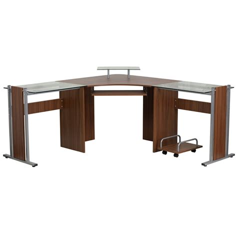 Fleur Wood And Glass Corner Desk Corner Desk Glass