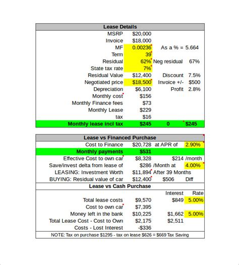 Lease Calculator Excel Spreadsheet by Lease Payment Calculator Excel Lease Amortization