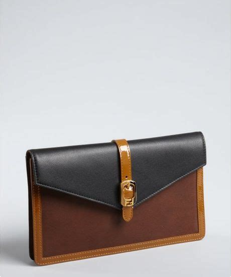 Fendi Letter Clutch by Fendi Brown Colorblock Leather Pequin Envelope Clutch In
