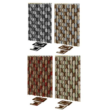 Bathroom Shower Curtain And Rug Sets Modern Dots 15 Pieces Shower Curtain Contour Bath Mat W Hooks Bathroom Rug Set Ebay