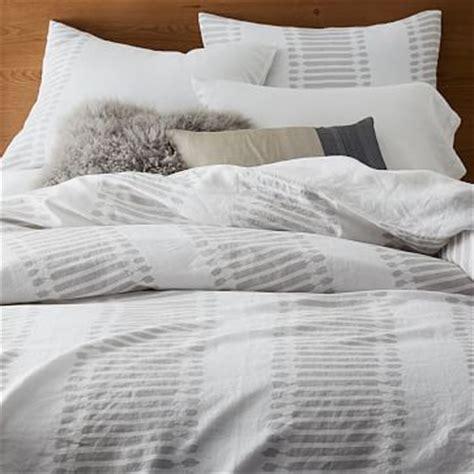 Belgian Flax Linen Ikat Stripe Duvet Cover   Shams   west elm
