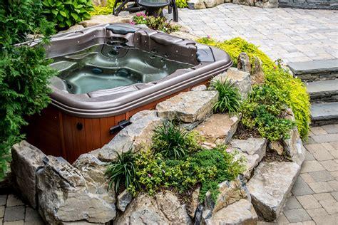 patio spa tub landscaping ideas bullfrog spas island