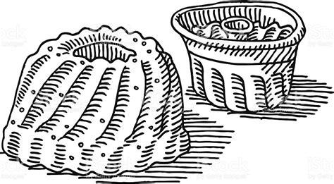 kuchen zeichnung gugelhupf kuchen backen pfanne zeichnung vektor