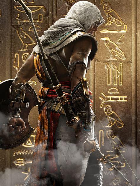 wallpaper bayek assassins creed origins hieroglyphs