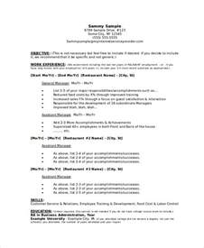 restaurant management resume sles manager resume sle templates 43 free word pdf