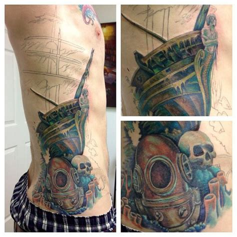sunken ship tattoos work in progress on this stunning water sunken