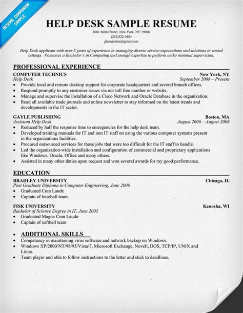 It Help Desk Resume by Help Desk Resume Resumecompanion Resume Sles
