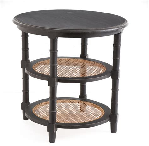 rattan accent table stacked column rattan side table traditional side