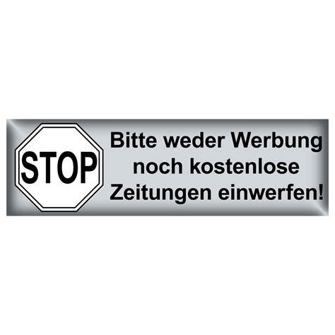 Aufkleber Auf Briefkasten Entfernen by Stop Bitte Keine Werbung Kostenlose Zeitung Einwerfen