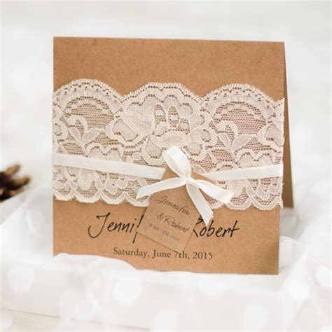 Hochzeitseinladung Jute Spitze by Graceful Vintage Rustic Folded Wedding Invitations Lace
