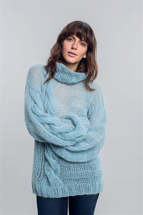 oversized sweater knitting pattern free oversized sky blue asymmetrical mohair turtleneck sweater