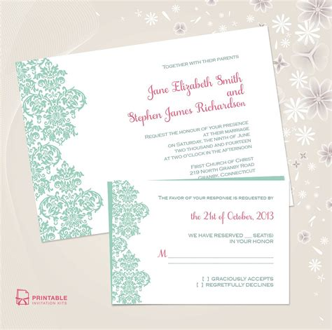 damask wedding invitation kits damask border wedding invitation 72 beautiful wedding
