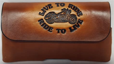 Handmade Leather Cell Phone Cases - biker live to ride embossed leather cell phone