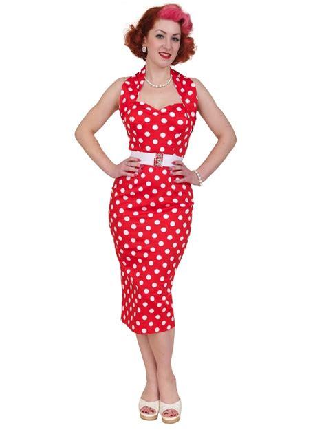 Polka Dot Pencil 1950s halterneck pencil polkadot dress from vivien of