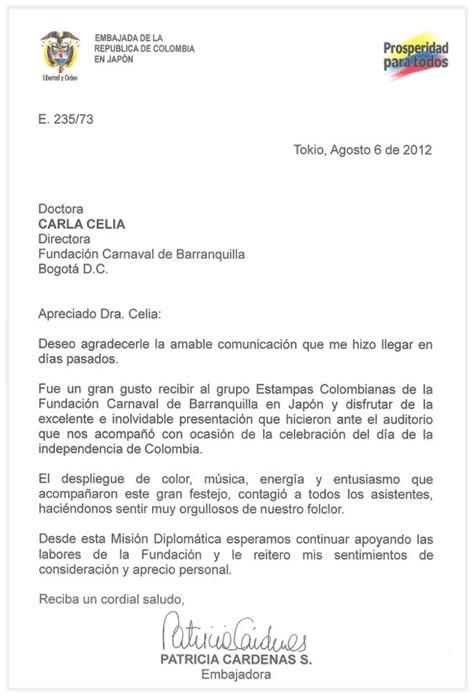 carta de agradecimiento de la embajadora de colombia en 243 n c 225 rdenas great way to