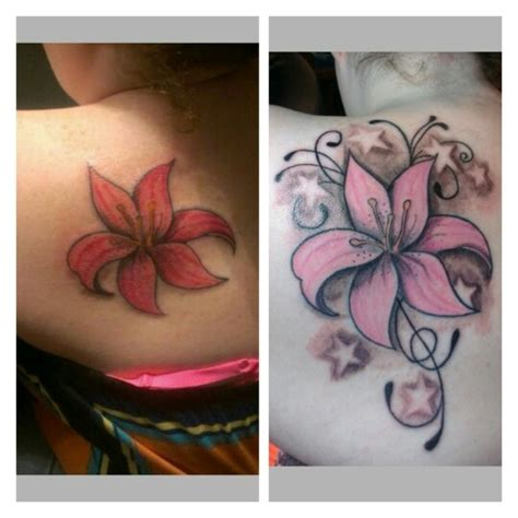 tattoo ink not taking tiger lily tattoo not sure the stars match the flower