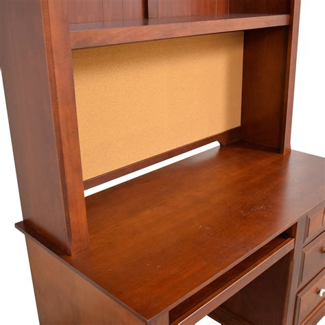 56 three drawer wood desk with curved hutch and