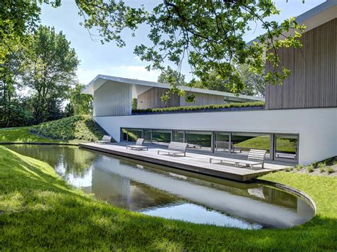 deck water feature modern home in oosterhout the