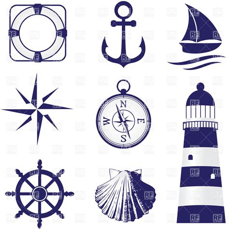 free royalty free clipart set of vintage nautical labels icons and design elements