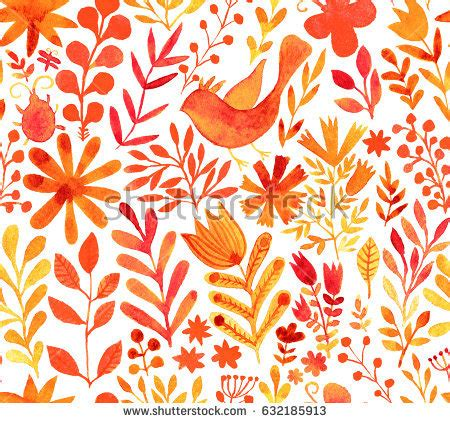 watercolor seamless pattern with pink and orange autumn seamless autumn pattern yellow red orange stock vector