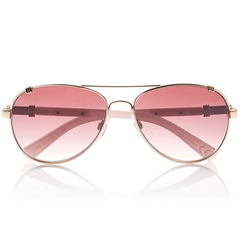 river island gold and pink tinted aviator style sunglasses
