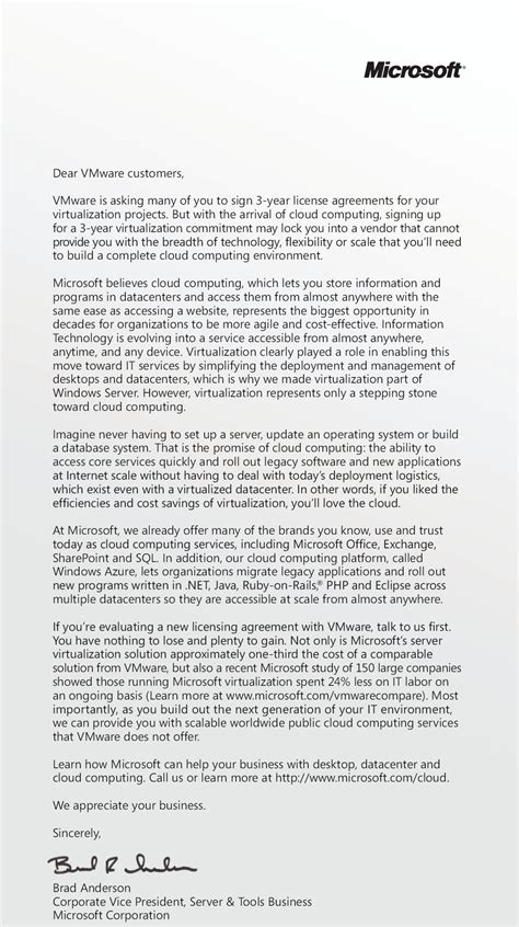 Appointment Letter For Vice President Microsoft S Usa Today Ad On Virtualization Pricing The Right Approach Drue Reeves
