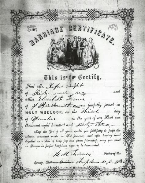 Norfolk Virginia Marriage Records Marriage Certificate Of A Virginia Black Soldier And His December 3 1863
