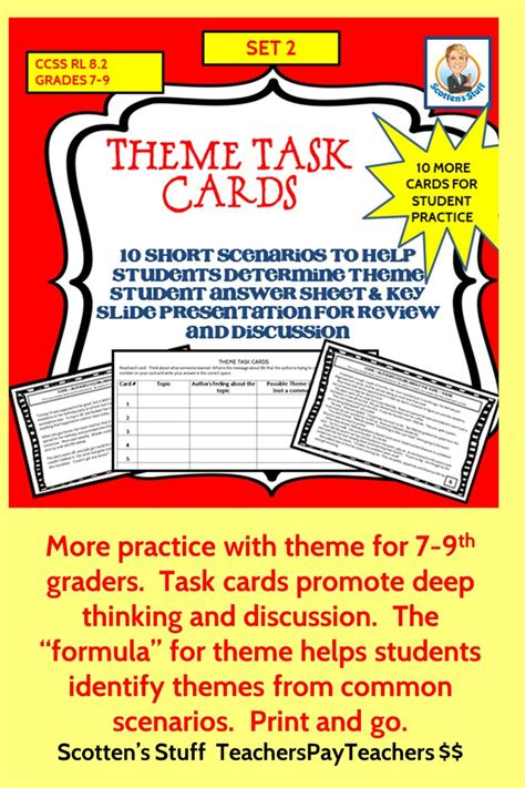 theme in literature songs literature and task cards 57 best scotten s stuff images on pinterest middle