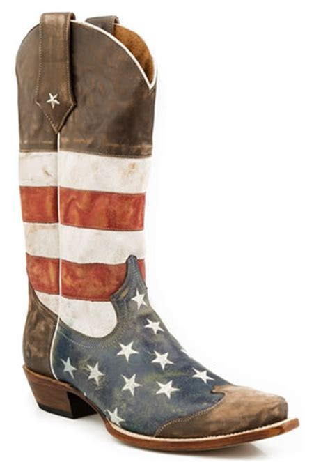 pungo ridge roper mens distressed american flag snip toe boots s roper footwear 09 020