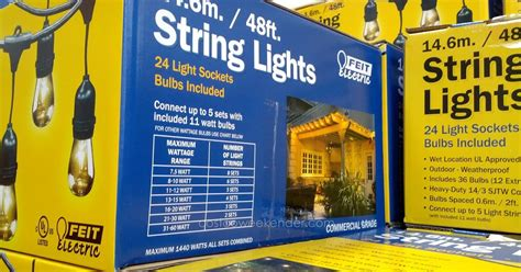 feit electric string lights costco feit 48 ft outdoor string lights costco weekender