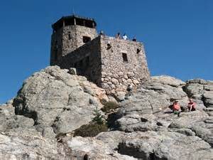 The fire lookout tower at the summit of harney peak in the black hills