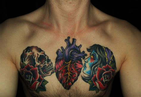 heart chest tattoos names on chest
