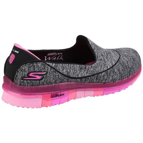sports shoe uk skechers go flex slip on sports shoe s black pink