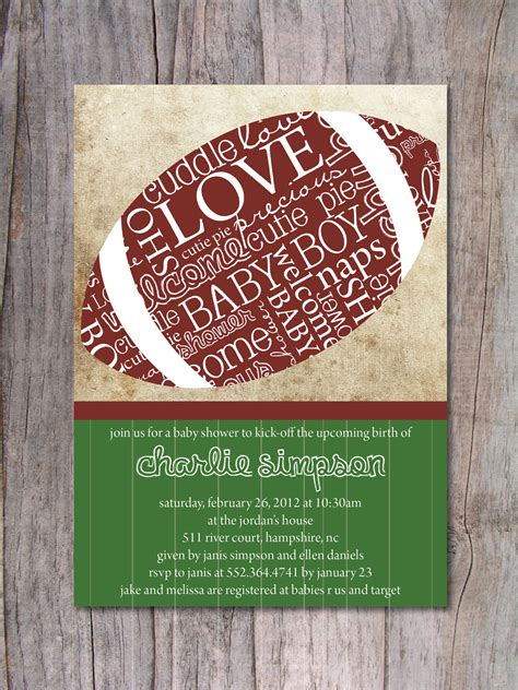 Football Baby Shower Invitation Sports Baby Shower By Pinchofspice Football Baby Shower Invitation Template