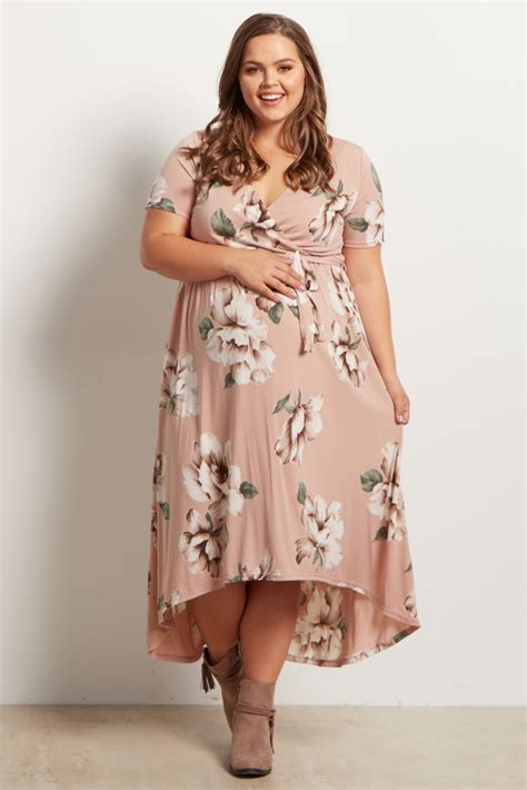 light pink wrap dress light pink floral hi low midi dress