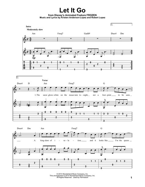 tutorial guitar let it go let it go from frozen guitar tab by idina menzel guitar