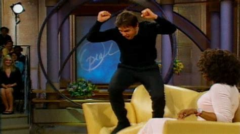 tom cruise jumping on couch tom cruise couch jumping for katie holmes video abc news