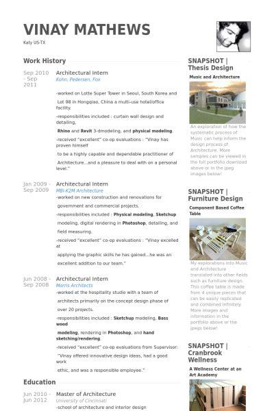 architecture resume exles architectural intern resume sles visualcv resume