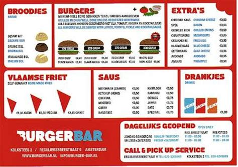 Top Bar Burger Menu by Food You Look Forward To When In Amsterdam Page 2