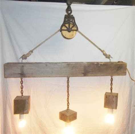 reclaimed wood light fixture reclaimed barn beam and pulley 3 light chandelier