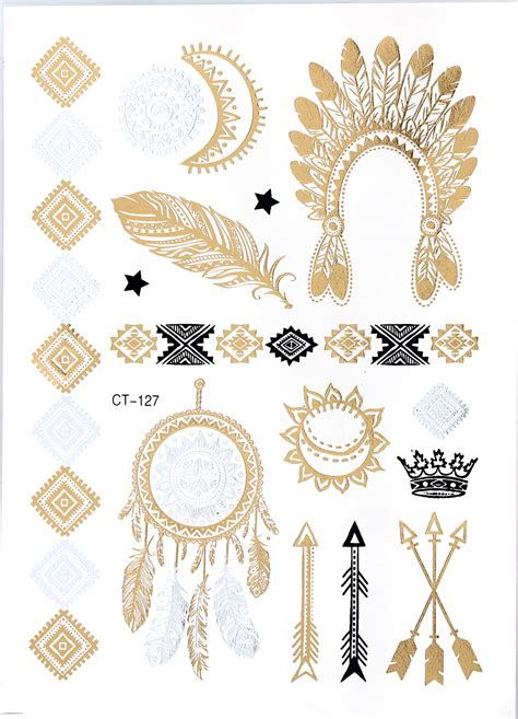 tattoo prices ct ct127 indian feather jewelry sticker tattoo metallic