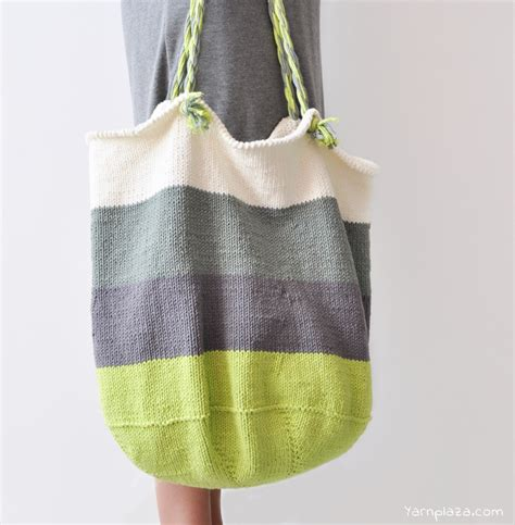 knit bag knitted tote bag free pattern yarnplaza for