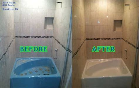 bathtub and tile reglazing big soaker tub before and after reglazing in biscuit