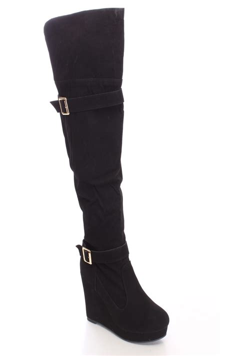 black print thigh high wedge boots faux suede