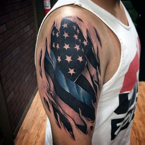 skinny arm tattoos masculine thin blue line torn skin american flag tattoos
