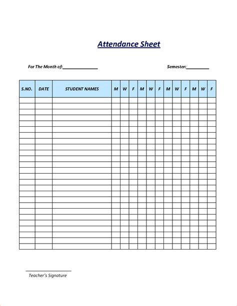 Attendance Sheet Template Excel by Attendance Sheet Excel Template Masir