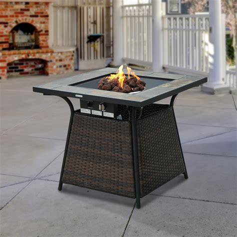 outsunny 32 quot outdoor wicker base lp gas fire pit table w