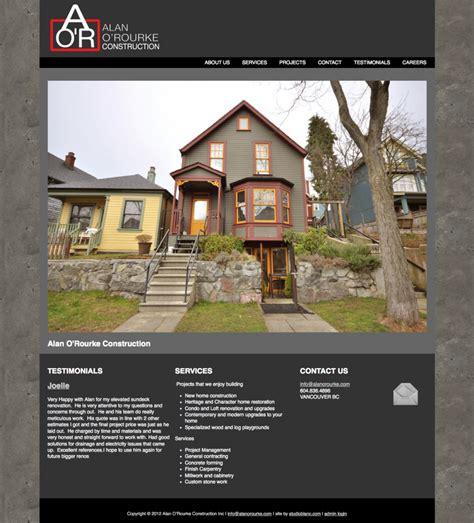 construction website design for harrison homes your web alan o rourke construction inc web site design