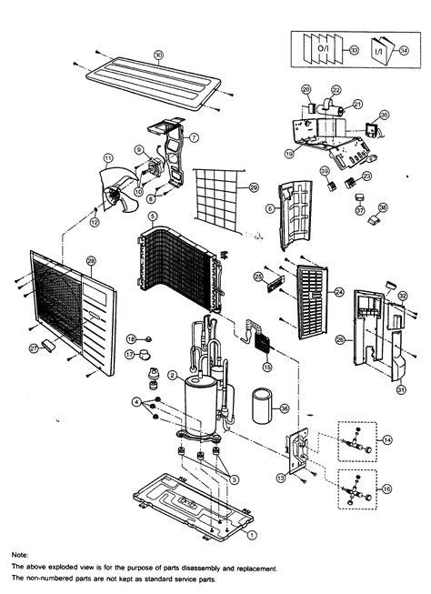 panasonic air conditioner parts list cabinet parts 1 diagram parts list for model csc28cku